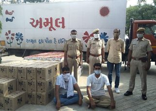 Amul Dudh was being smuggled into illegal English liquor smuggling, driver and cashman arrested